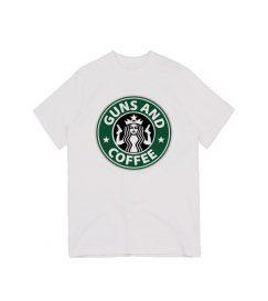 Starbucks Gun And Coffe Parody Logo T-shirt