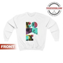David Bowie Mens White Short Sleeve Colour Saxophone Sweatshirt