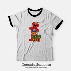 Get It Now Funny Monster Elmo Fuck it Block Sesame Street Ringer T-shirt